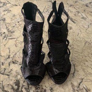 BCBG Duchess black snake skin bootie/sandal